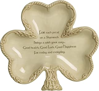 Grasslands Road Celtic Shamrock Shaped Bowl with Good Wishes Message, Gift Boxed, 7 1/4 Inches By 8 Inches, Pack of 1, Creamy Ceramic