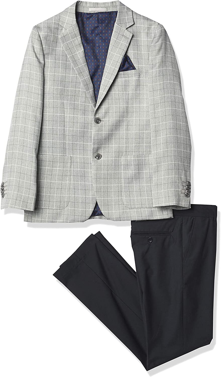 Isaac Mizrahi Boys' Slim Fit 2-Piece Suit Patch Contrast Challenge the lowest price of Japan 5 ☆ very popular Gingham