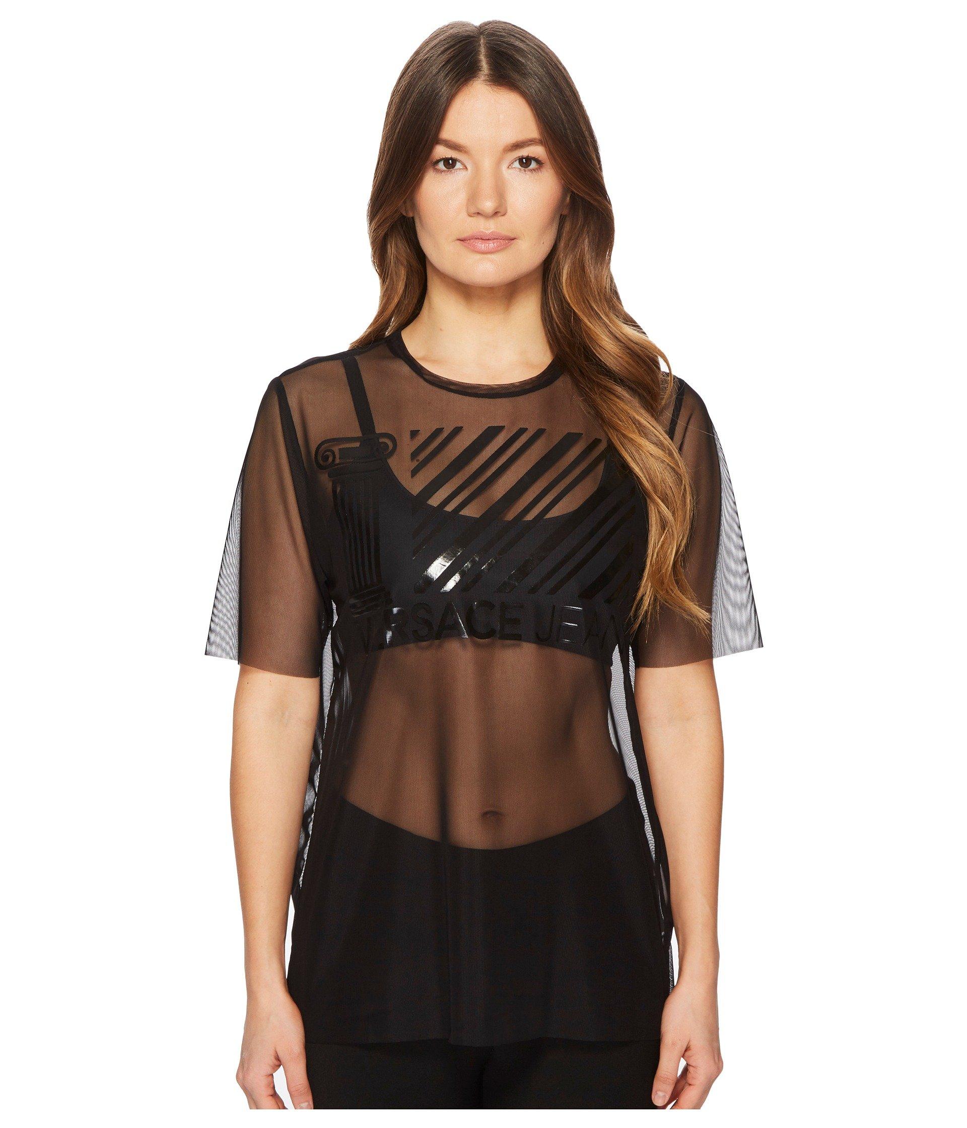 Blusa para Mujer Versace Jeans Sheer Designed Brand Short Sleeve Top  + Versace en VeoyCompro.net