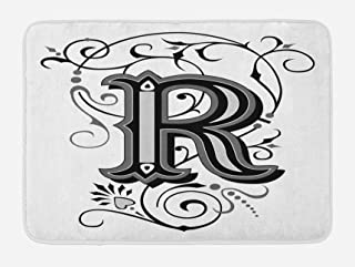 Ambesonne Letter R Bath Mat, Baroque Antique R Typography with Old Fashion English Aristocratic Swirls, Plush Bathroom Decor Mat with Non Slip Backing, 29.5