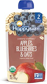 Happy Baby Clearly Crafted Stage 2 Organic Baby Food Apples Blueberries & Oats, 4 Ounce Pouch Resealable Baby Food Pouche...