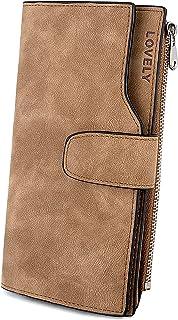 UTO Women's RFID Blocking PU Matte Leather Wallet Card Zipper Phone Holder Organizer Girls Coin Purse (Brown(RFID))
