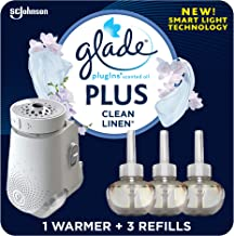 Glade PlugIn Plus Air Freshener Starter Kit, Scented Oil for Home and Bathroom, Clean..