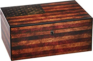 Quality Importers Trading Old Glory Humidor, Weathered American Flag, Glass Hygrometer, Spanish Cedar Tray with Divider, SureSeal Technology, Holds Up to 100 Cigars