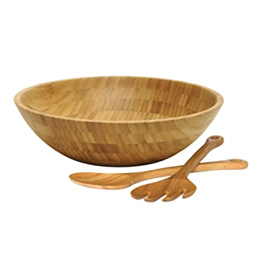 Lipper International Bamboo Wood Salad Bowl with 2 Server Utensils, Large, 14  Diameter x 4  Height, 3-Piece Set