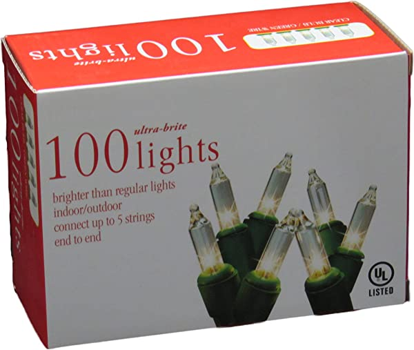 Holiday Essentials 100 Ultra Brite Clear White Lights With Green Wire Indoor Outdoor Use UL Listed