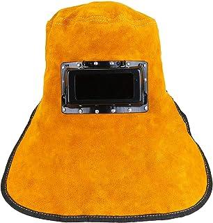 Holulo Yellow Welding Mask Cowhide Split Leather Comfortable Welding Hood Helmet For Splash Proof And Heat Resistant