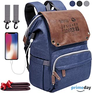 Diaper Bag Backpack - SUNPOW Large Anti-Water Maternity Baby Nappy Bags with Insulated Pockets, Changing Pad and Stroller Straps Included, Multifunction Travel Back Pack with USB Charging Port, Blue