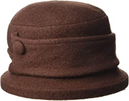 Boiled Wool Cloche with Button
