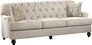 """Homelegance Clemencia 85"""" Linen-Like Upholstered Sofa, White"""