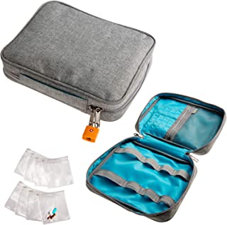 Smooth Trip Safeguard Medication Organizer with Locking Zipper and Pill Pouches