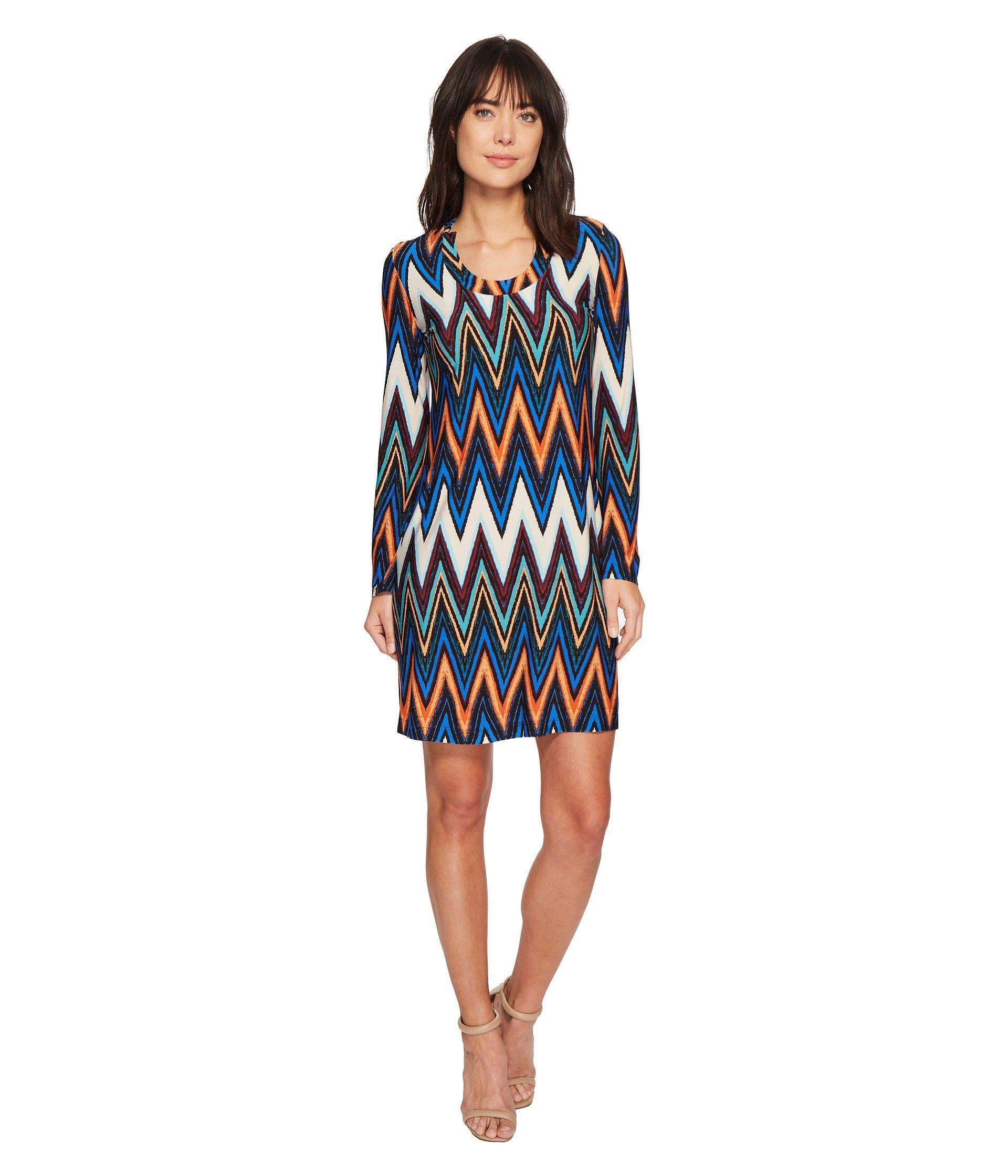 Chevron Printed Long Sleeve Scoop Neck Jersey Dress