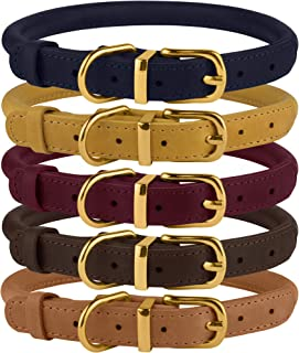 BRONZEDOG Rolled Leather Dog Collar Durable Round Rope Collars for Small Medium Large Dogs Puppy Cat Burgundy Mustard Dark Blue Light Brown