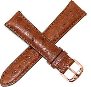 Jacques Lemans 22MM Genuine Ostrich Leather Watch Strap Brown with Rose Gold JL Initial Stainless Steel Buckle