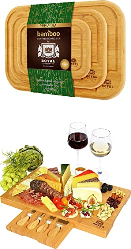high quality Bamboo Cutting Board with Juice Groove (3-Piece) and Bamboo Cheese Board with Knife Set by Royal Craft new arrival online Wood outlet online sale
