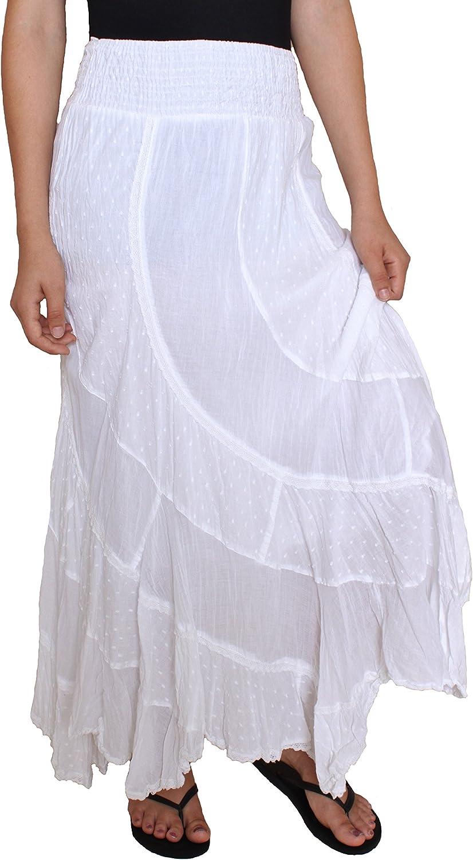 Sacred Threads Patchwork White Swirl Skirt - #215615