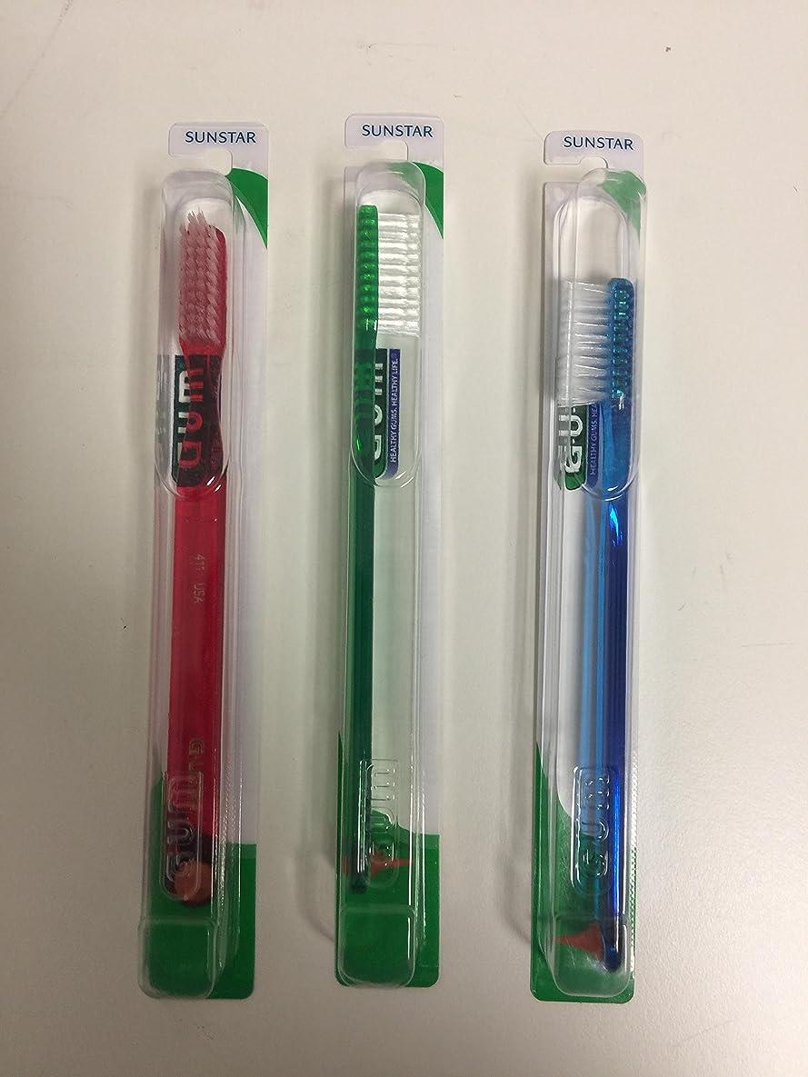 グリップスキッパーフラッシュのように素早くGUM 411 Classic Toothbrush Full - Soft - With Stimulator (3 Pack) by GUM