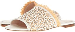 White Lasercut Leather/Beige Raffia