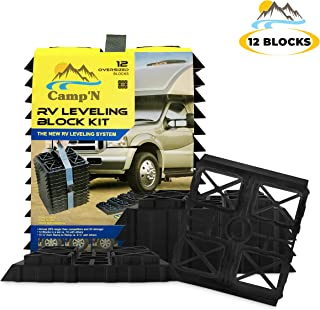 Camp'N - RV Leveling Blocks - Pads - (12 Pack) with Built-in Ramps and Quick Release Carrying Strap - Heavy Duty and Extra Large