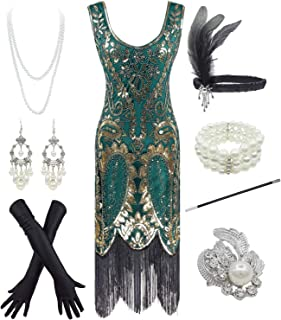 YENMILL 1920s Vintage Peacock Sequin Fringed Party Flapper Dress w 20s Accessories Set
