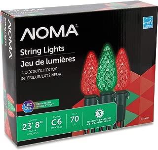 NOMA LED C6 Christmas Lights | Indoor/Outdoor String Lights | Red, Green Bulbs | 70 Light Set | 23.8 Foot Strand | UL Certified