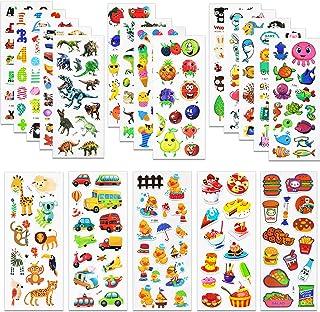 MOKIU 3D Autocollants Stickers pour Enfants 3D Stickers 450+pièces, 3D en Relief, 20 Feuilles Autocollants de Variétés con...