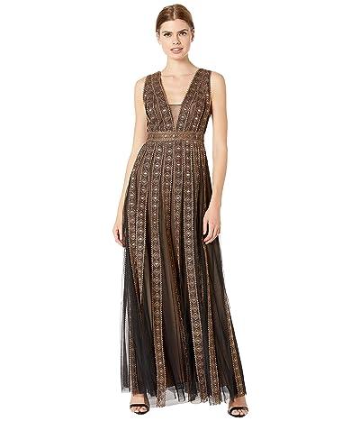 BCBGMAXAZRIA Embroidered Metallic Gown (Black Combo) Women