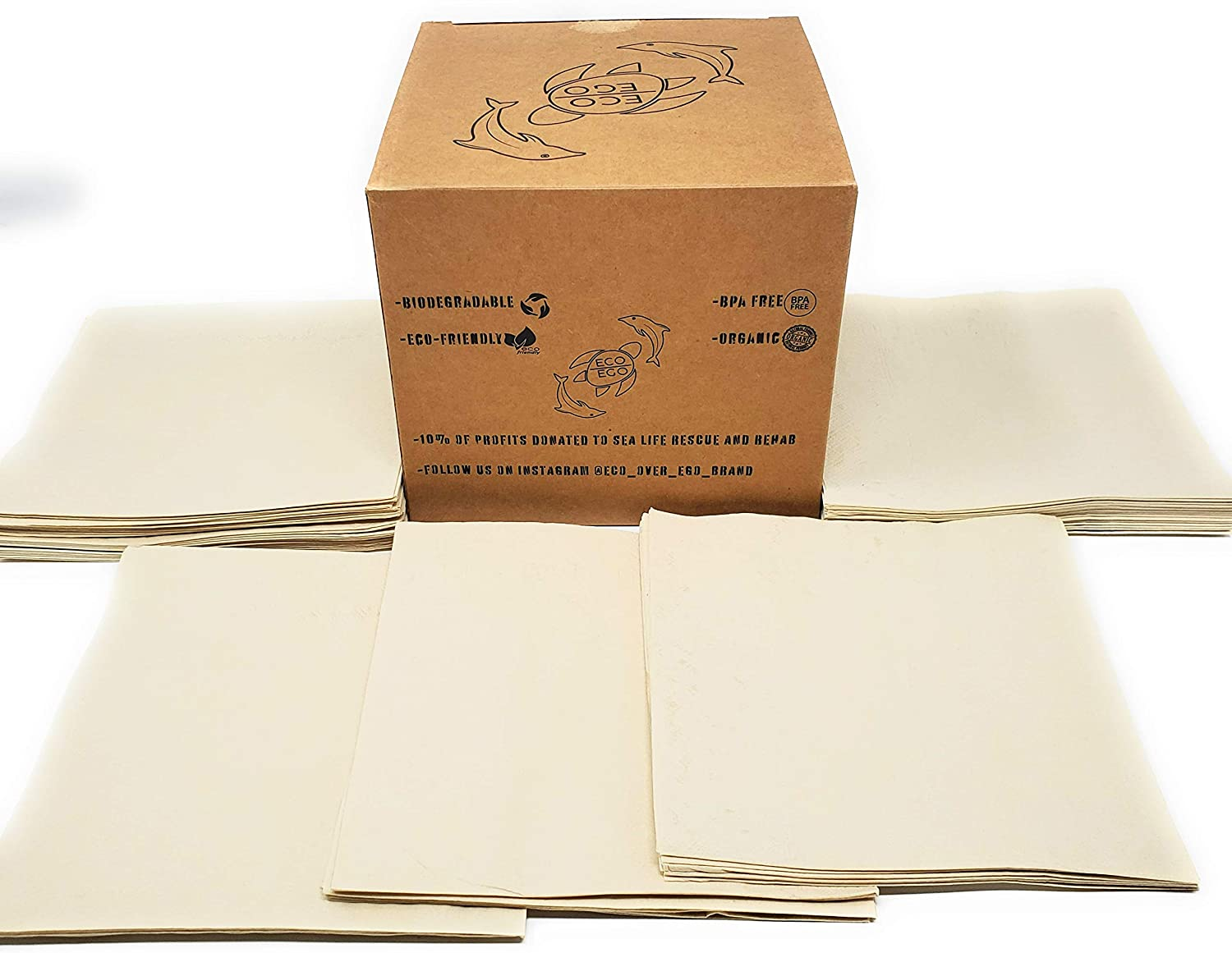 200 count extra soft, heavy duty eco-friendly recycled Bamboo Napkins. 13'' x 13'' full size napkins. 2 ply construction/18 gsm for added durability. Recyclable, compostable, and biodegradable.