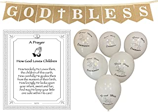 God Bless Laced Burlap Banner for Girl or Boy, First 1st Holy Communion, Christening, Baptism, Catholic Decorations - Large Reusable 8X6 Banner printed with White letters and 6 Pearlish White Balloons