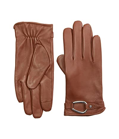 LAUREN Ralph Lauren Leather Bridle Belt Touch Gloves (Dill Saddle) Over-Mits Gloves