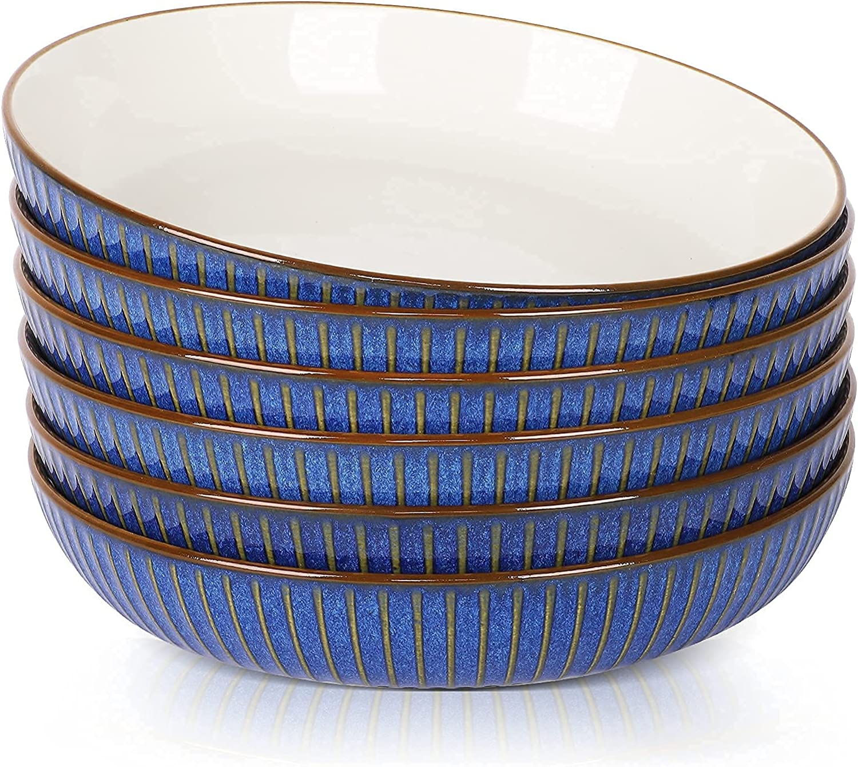 JDZTC Challenge Department store the lowest price of Japan Pasta Bowls set 6 Ceramic Navy Bowl oz Bl 24 Salad Wide
