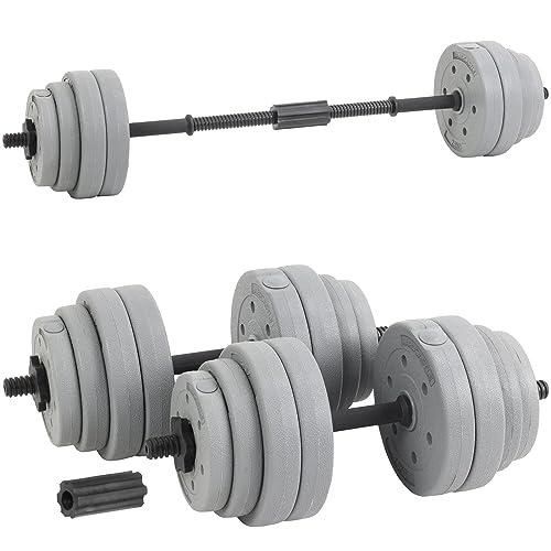 Hardcastle Ensemble Barre de Poids Haltère Réglable 30kg – Gris