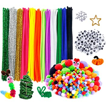 Caydo 650 Pieces Valentine Day Pipe Cleaners Sets 300/Pieces 4/Size/Pom Poms and 50/Pieces 4 Size Wiggle Googlys Eyes for Valentine Crafts Decorations Including 300/Pieces 4/Colors Pipe Cleaners
