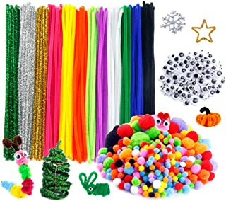 Caydo 600 Pieces Pipe Cleaners Pompoms Set, Including 120 Pieces 12 Colors Pipe Cleaners, 360 Pieces 6 Size Pom Poms and 1...