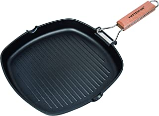 MasterPan Non-Stick Cast Aluminum Grill Pan w/Folding Wooden Handle, 8