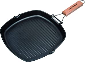 "MasterPan MP-140 Non-Stick Grill Pan Wooden, 11"", Folding Handles"