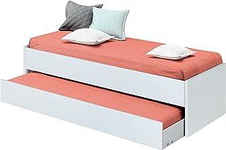 Cama nido de dormitorio juvenil color blanco brillo, somier inferior incluido, para colchones de