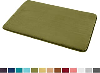 "Clara Clark Bath Mat Bathroom Rug - Absorbent Memory Foam Bath Rugs - Non-Slip, Thick, Cozy Velvet Feel Microfiber Bathrug, Plush Shower, Toilet Floor Bathmats Carpet - Sage - Small Size 17""x24"""