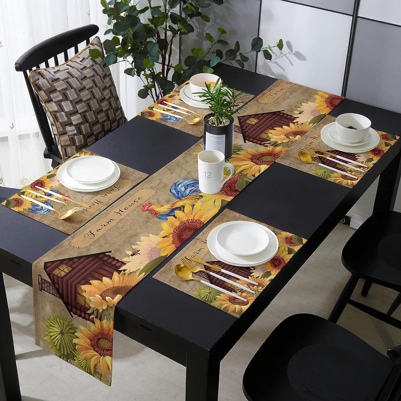 COLORSUM Burlap Outlet sale feature Table Runner Placemats House Set Sunfl Rapid rise Farm