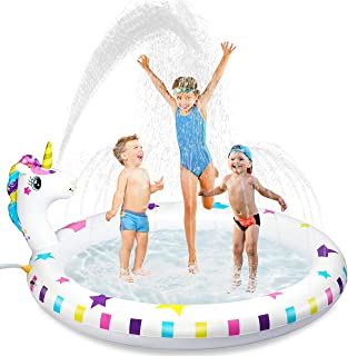 Inflatable Sprinkler Pool for kids, Baby Toddler Wading Pool,Unicorn Inflatable Water Toys Gifts for 3 4 5 6 7 8 Year Old Girls Boys,Sprinkler Pad & Splash Play Mat Backyard Party Outdoor Summer Toys