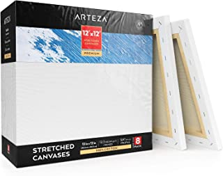 """Arteza 12x12"""" Stretched White Blank Square Canvas, Bulk Pack of 8, Primed, 100% Cotton for Painting, Acrylic Pouring, Oil Paint & Wet Art Media, Canvases for Artist, Hobby Painters & Beginner"""