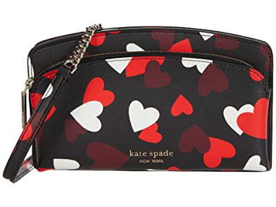 Kate Spade New York Spencer Celebration Heart East/West Crossbody for iPhone(r) (Black Multi) Cell Phone Case