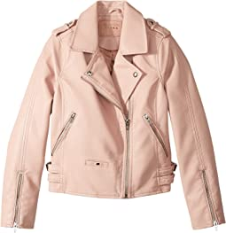 Blank NYC Kids - Vegan Leather Moto Jacket in Blushing Hard (Big Kids)