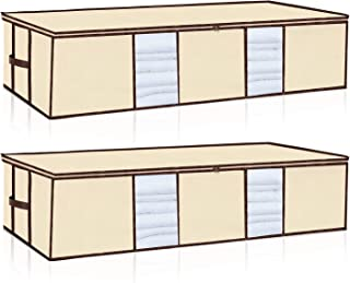 Underbed Storage Bags Large Capacity[2Pack]Foldable Under the Bed Storage Organizers Containers with Strenghthened Handles and Zippers for Blanket Comforter Clothing Bedding Storage Beige Color