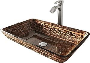 VIGO Rectangular Golden Greek Glass Vessel Bathroom Sink and Otis Vessel Faucet with Pop Up, Brushed Nickel