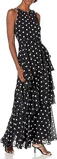 Tahari ASL Women's Sleeveless Ruched Neck Polka Dot Gown