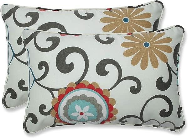 Pillow Perfect Outdoor Pom Pom Play Peachtini Rectangular Throw Pillow Set Of 2
