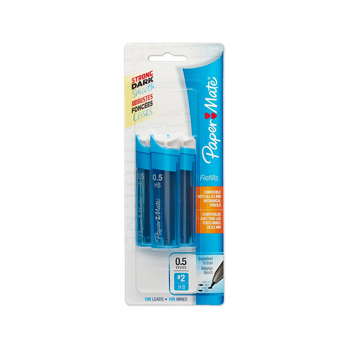 Paper Mate Mechanical Pencil Refills, 0.5mm, HB #2, 105 Count