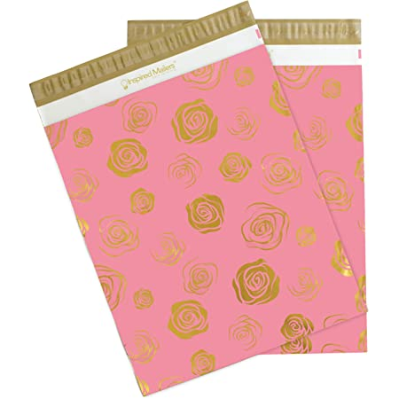 Inspired Mailers - Poly Mailers 14.5x19-50 Pack - Gold Roses Deluxe - Package Envelopes - Large Mailers Poly Bags - Cute Packaging Bags - Poly Mailers 14.5 x 19