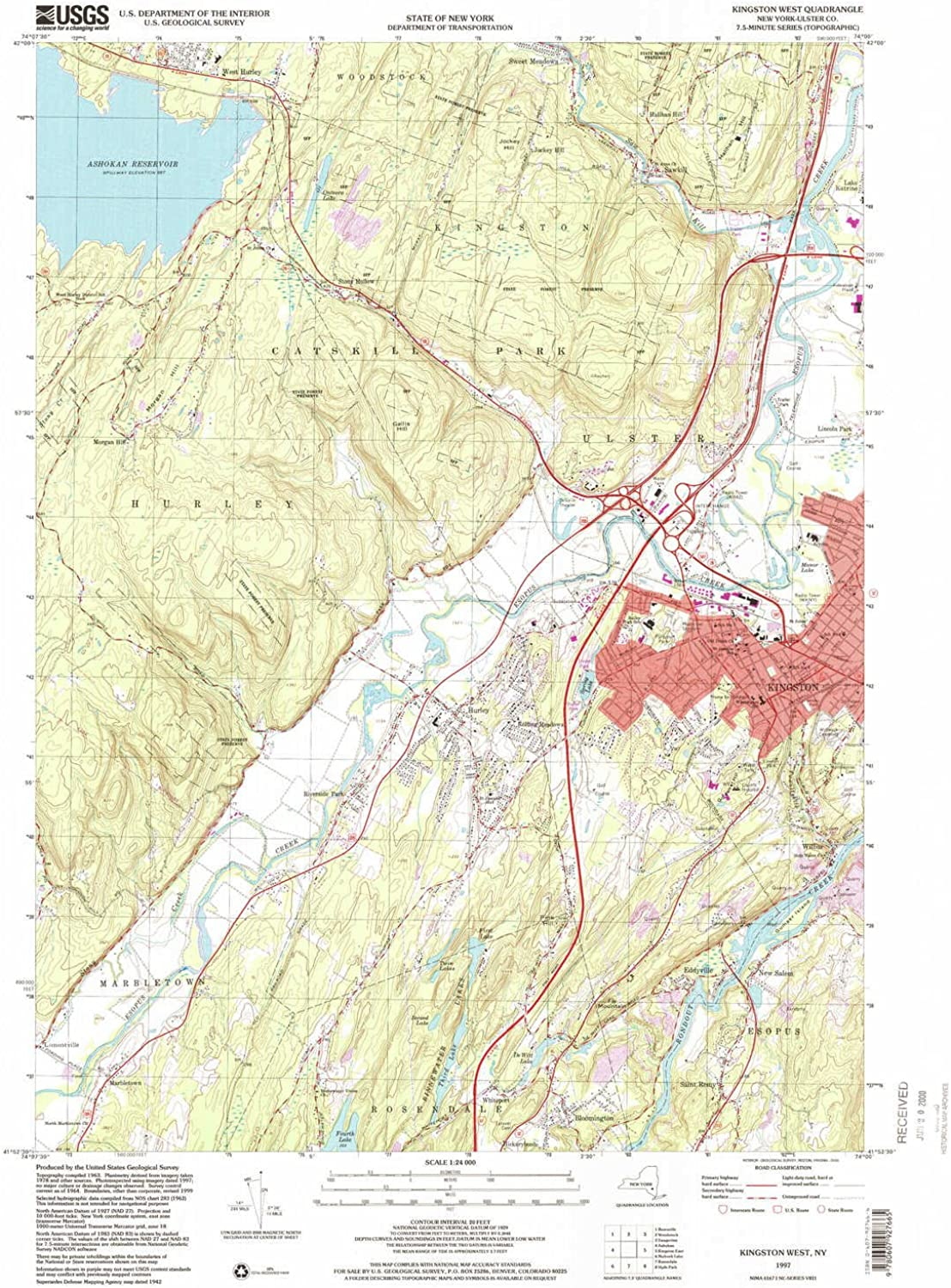 Kingston West NY topo map, 1 24000 Scale, 7.5 X 7.5 Minute, Historical, 1997, Updated 2000, 27 x 22.1 in